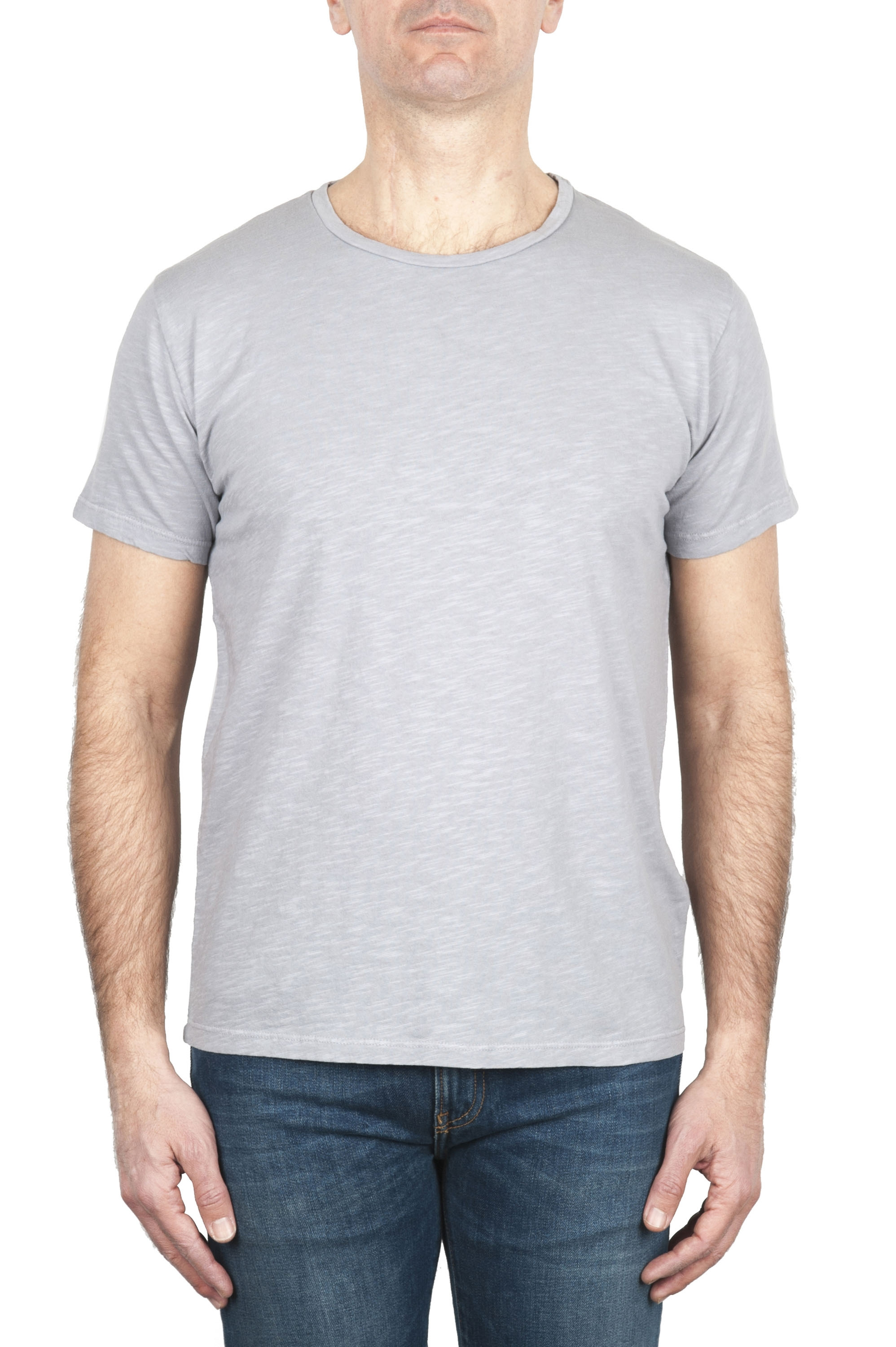 SBU 01976_2020SS Flamed cotton scoop neck t-shirt grey 01