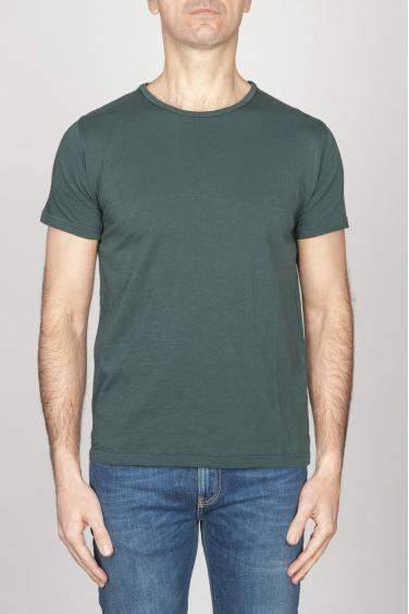 SBU - Strategic Business Unit - T-Shirt Girocollo Aperto A Maniche Corte In Cotone Fiammato Verde Bottiglia