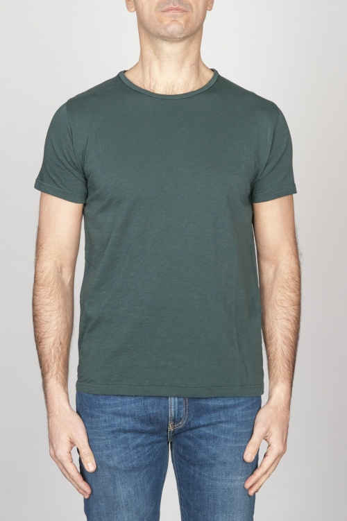 SBU - Strategic Business Unit - Classic Short Sleeve Flamed Cotton Scoop Neck T-Shirt Dark Green