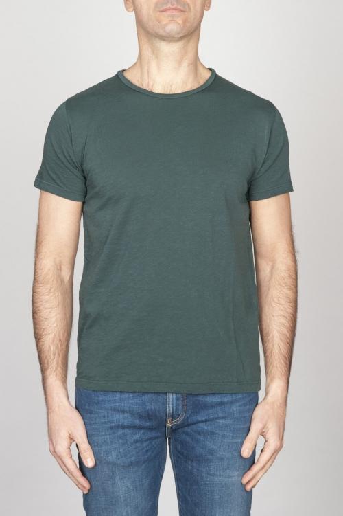 Classic Short Sleeve Flamed Cotton Scoop Neck T-Shirt Dark Green