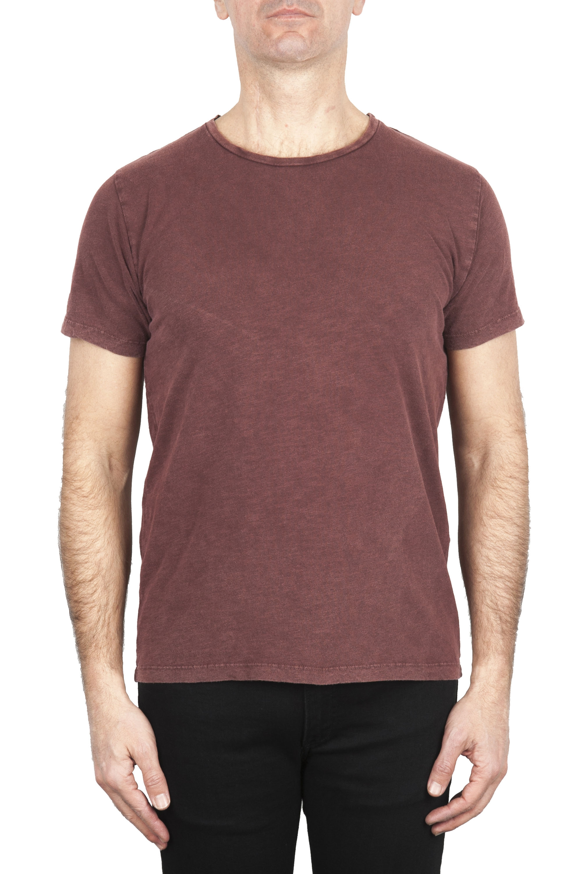 SBU 01977_2020SS Flamed cotton scoop neck t-shirt brick red 01