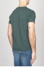 Classic Short Sleeve Flamed Cotton Scoop Neck T-Shirt Dark Green