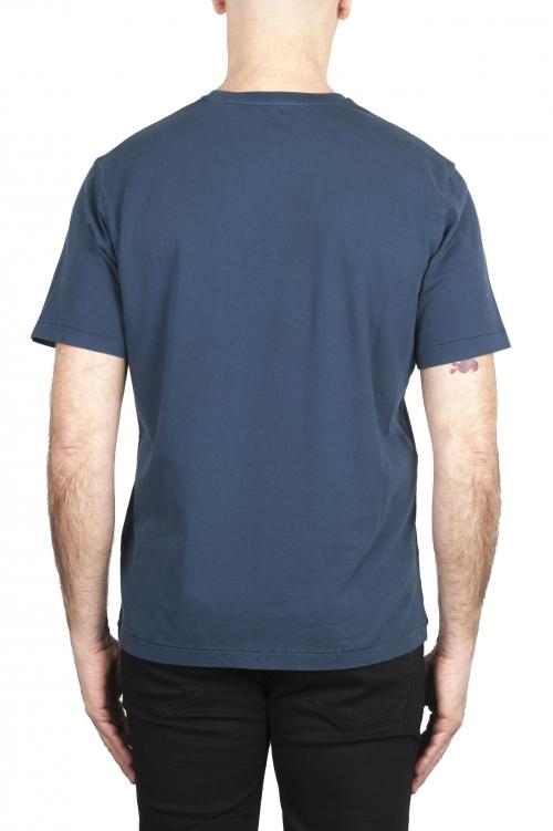 SBU 01982_2020SS Camiseta de algodón puro con cuello redondo azul 01