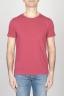 古典的な短い袖のコットンスクープネックTシャツチェリーレッド