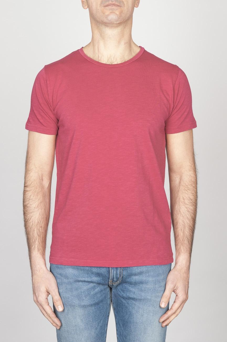 SBU - Strategic Business Unit - T-Shirt Girocollo Aperto A Maniche Corte In Cotone Fiammato Rosso Amarena
