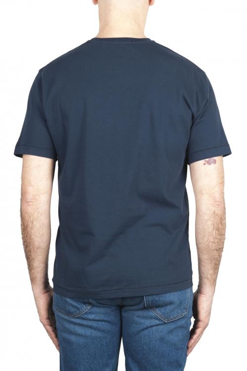 SBU 01986_2020SS Camiseta de algodón puro con cuello redondo azul marino 01