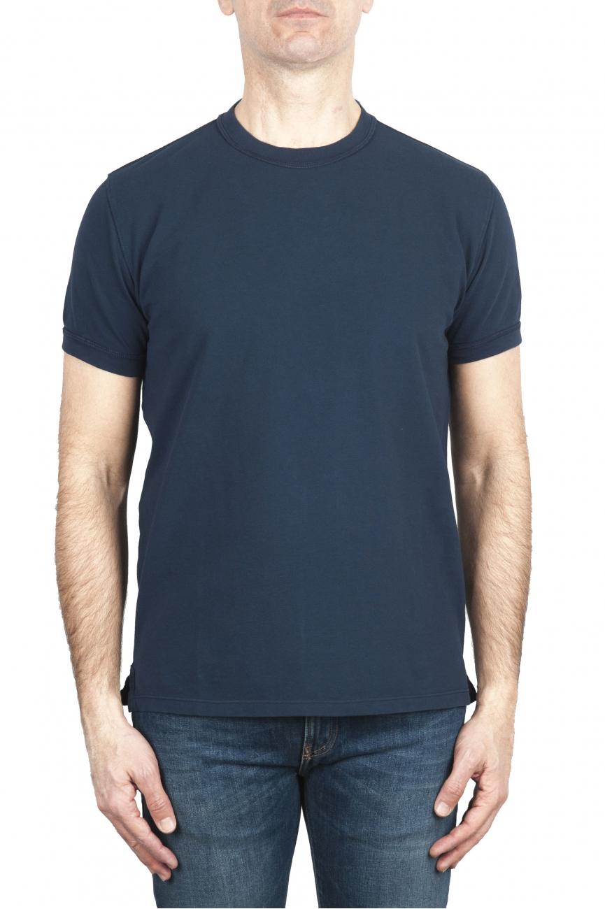 SBU 01989_2020SS T-shirt girocollo in cotone piqué blu navy 01