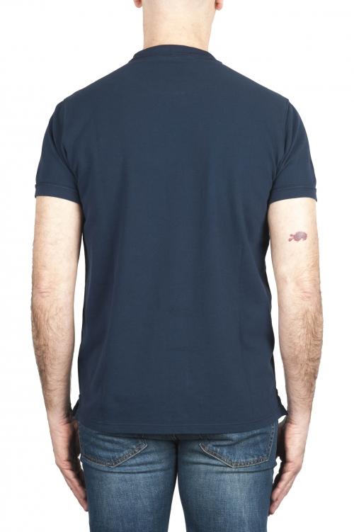 SBU 01989_2020SS T-shirt classique en coton piqué bleu marine 01