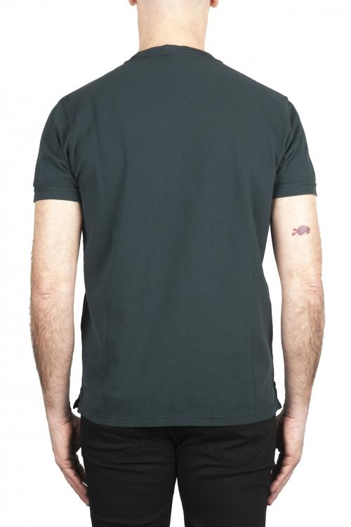 SBU 01991_2020SS T-shirt girocollo in cotone piqué verde 01