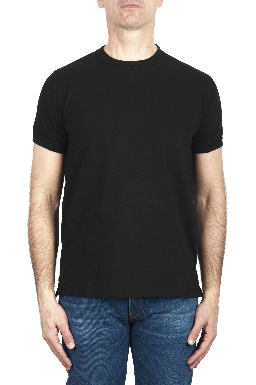 SBU 01992_2020SS Camiseta clásica de piqué de algodón negro 01