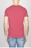 SBU - Strategic Business Unit - T-Shirt Girocollo Aperto A Maniche Corte In Cotone Fiammato Rosso Amarena