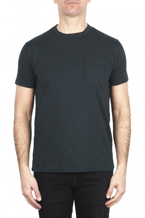 SBU 01994_2020SS Camiseta de algodón negro de cuello redondo y bolsillo de parche 01