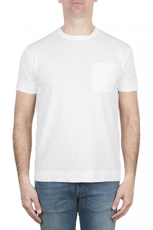 SBU 01995_2020SS Camiseta de algodón blanco de cuello redondo y bolsillo de parche 01