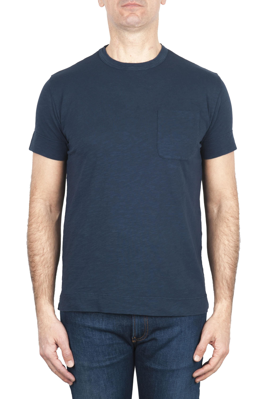 SBU 01996_2020SS Camiseta de algodón azul de cuello redondo y bolsillo de parche 01