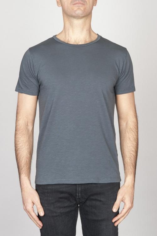 T-Shirt Girocollo Aperto A Maniche Corte In Cotone Fiammato Grigio Scuro