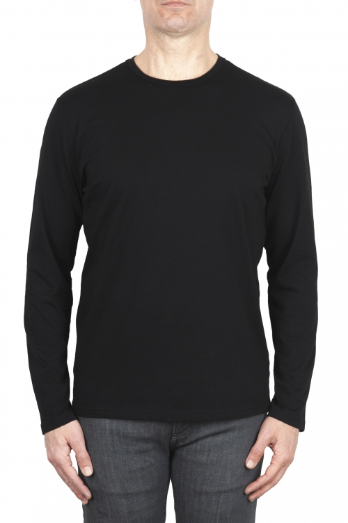 SBU 01997_2020SS Camiseta clasica de manga larga de algodón jersey negro  01