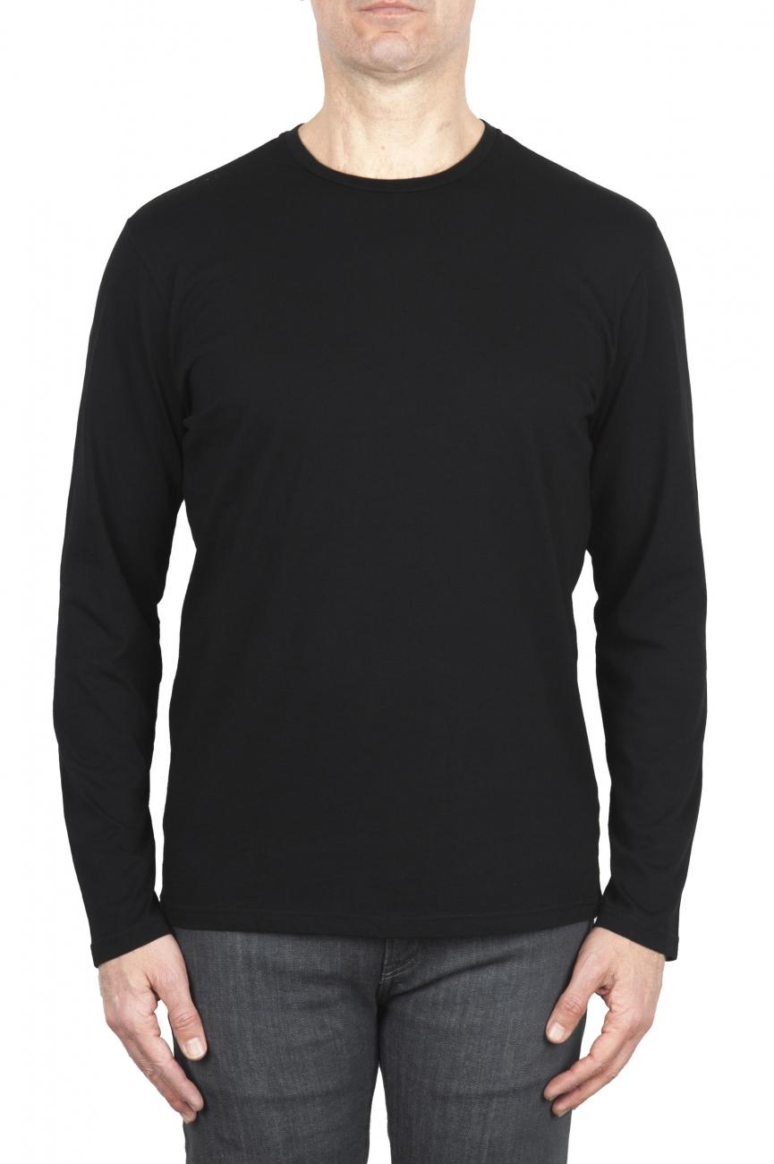 SBU 01997_2020SS T-shirt girocollo a maniche lunghe in cotone nera 01