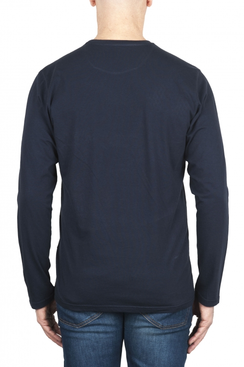 SBU 01998_2020SS T-shirt girocollo a maniche lunghe in cotone blu 01