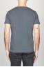 Classic Short Sleeve Flamed Cotton Scoop Neck T-Shirt Dark Grey