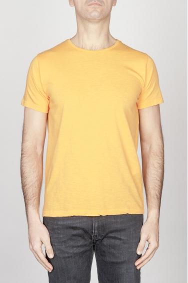 SBU - Strategic Business Unit - T-Shirt Girocollo Aperto A Maniche Corte In Cotone Fiammato Arancione