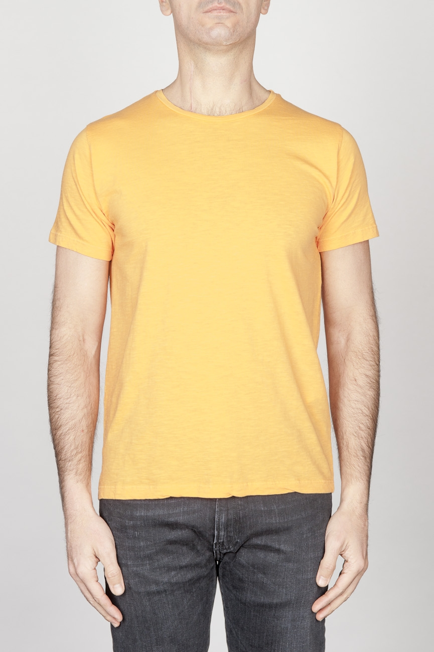 Classic Short Sleeve Flamed Cotton Scoop Neck T-Shirt Orange