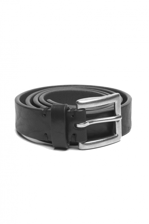 SBU 02812_2020SS Black bullhide leather belt 0.9 inches 01