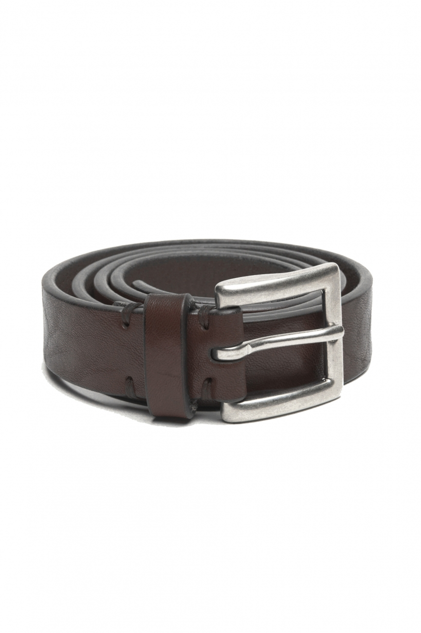 SBU 02814_2020SS Brown bullhide leather belt 0.9 inches 01