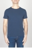 SBU - Strategic Business Unit - T-Shirt Girocollo Aperto A Maniche Corte In Cotone Fiammato Blue Navy