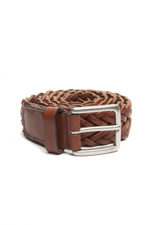 SBU 02819_2020SS Cintura in pelle intrecciata altezza 3.5 cm color cuoio 01