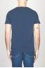 Classic Short Sleeve Flamed Cotton Scoop Neck T-Shirt Blue Navy