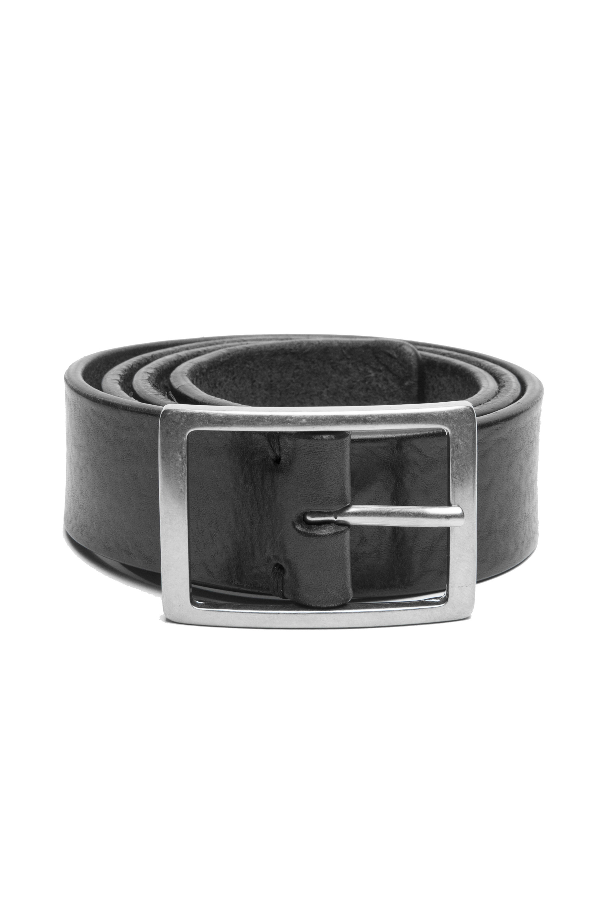 SBU 02824_2020SS Black bullhide leather belt 1.4 inches 01