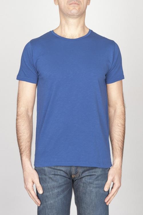 古典的な短い袖のコットンスクープネックTシャツチャイナブルー