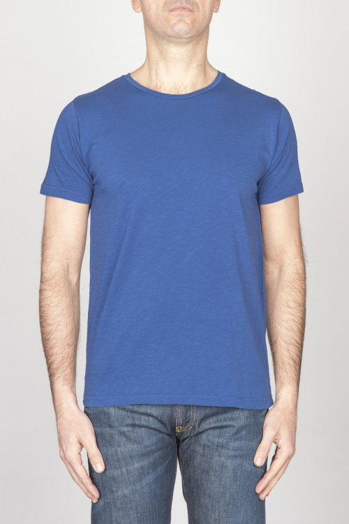 SBU - Strategic Business Unit - Classic Short Sleeve Flamed Cotton Scoop Neck T-Shirt Blue China