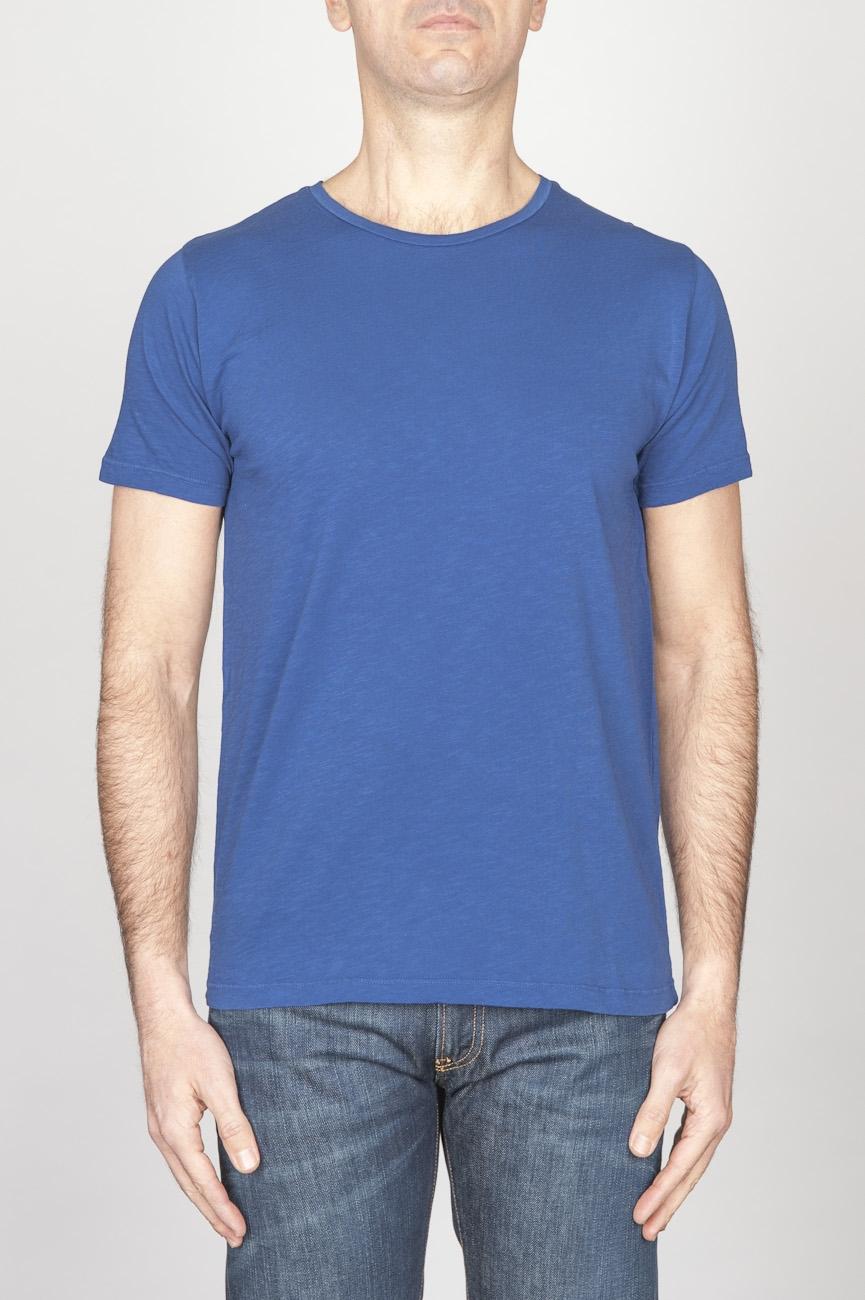SBU - Strategic Business Unit - T-Shirt Girocollo Aperto A Maniche Corte In Cotone Fiammato Blue China