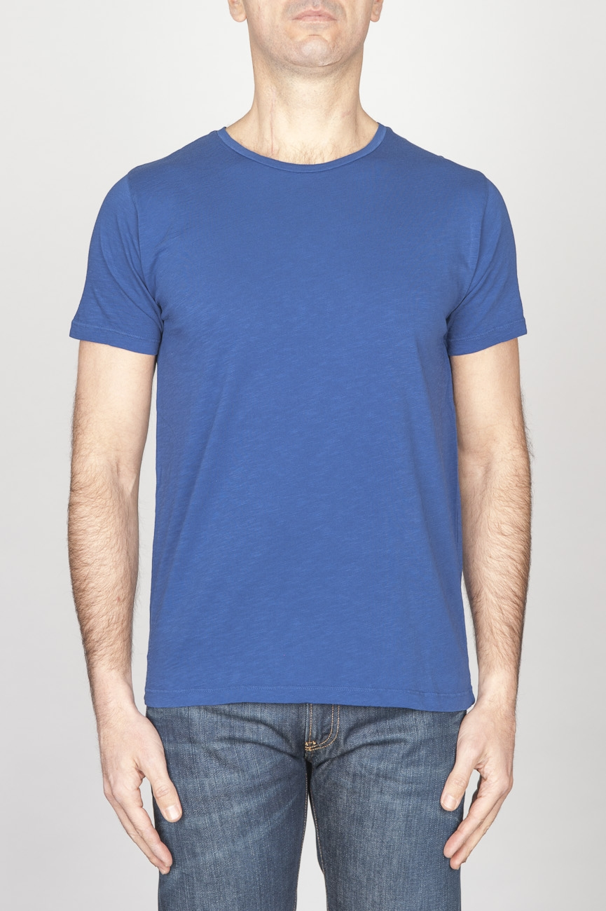 SBU - Strategic Business Unit - Classic Short Sleeve Flamed Cotton Scoop Neck T-Shirt Blue China