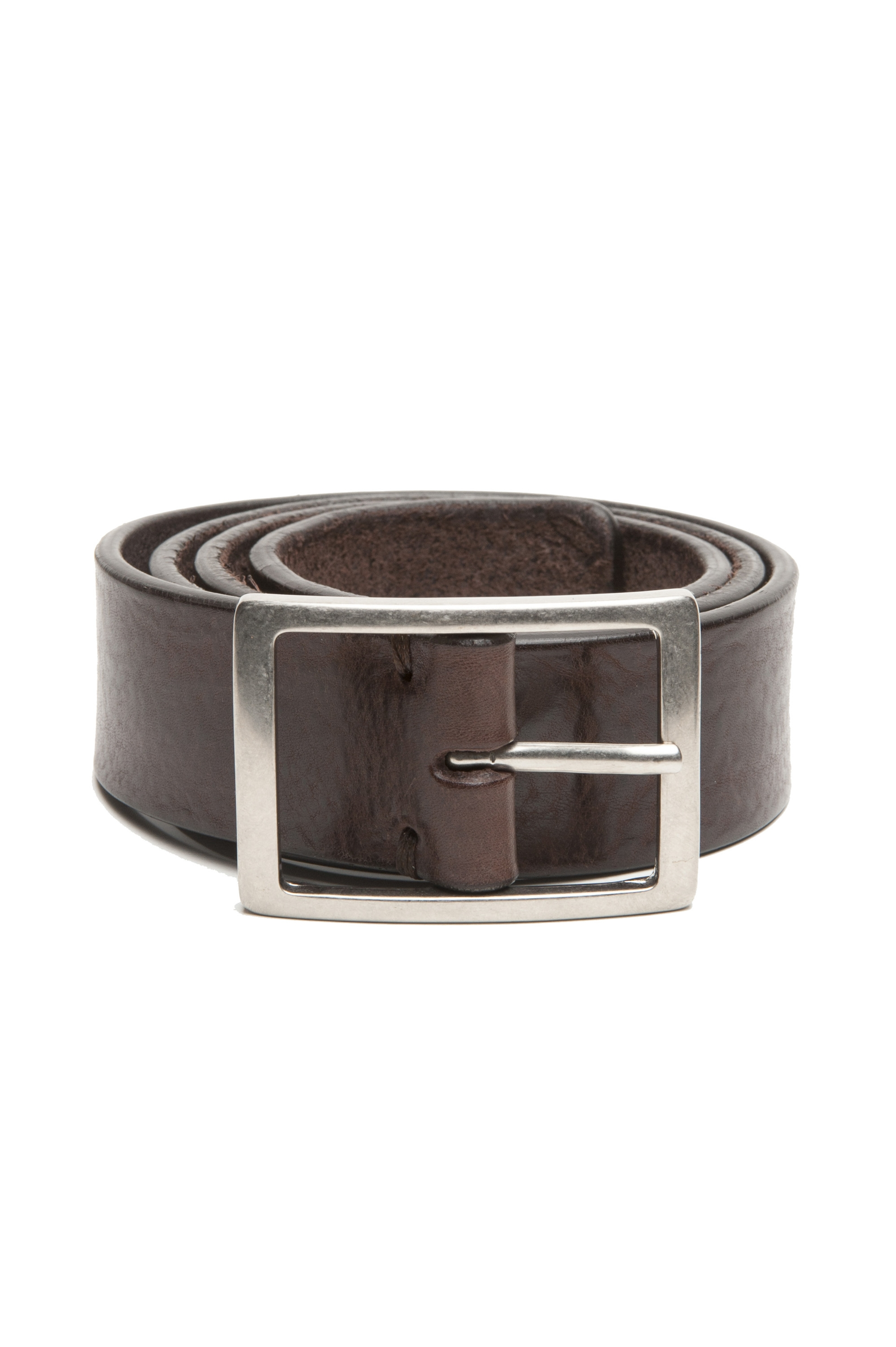 SBU 02825_2020SS Brown bullhide leather belt 1.4 inches 01