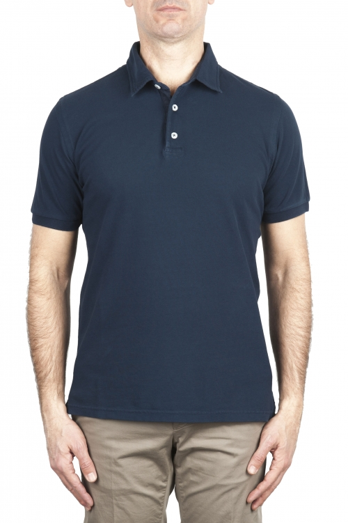 SBU 02041_2020SS Short sleeve navy blue pique polo shirt  01