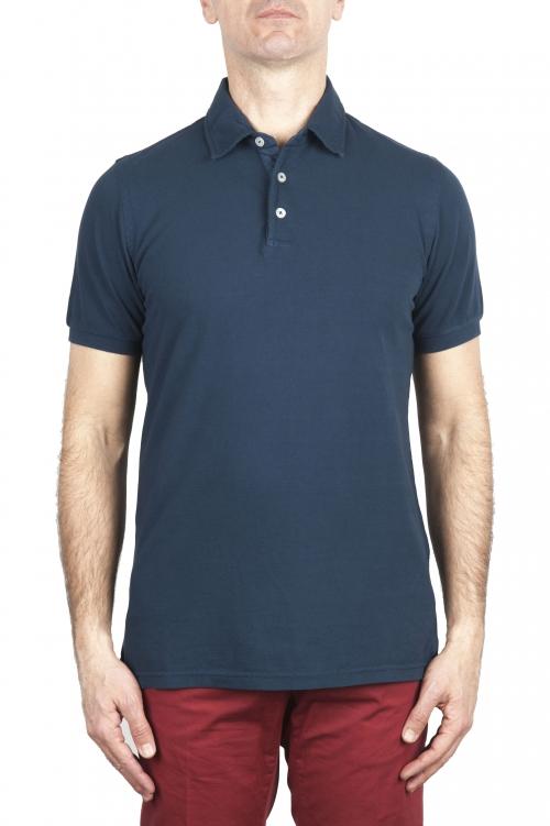 SBU 02044_2020SS Short sleeve blue pique polo shirt  01