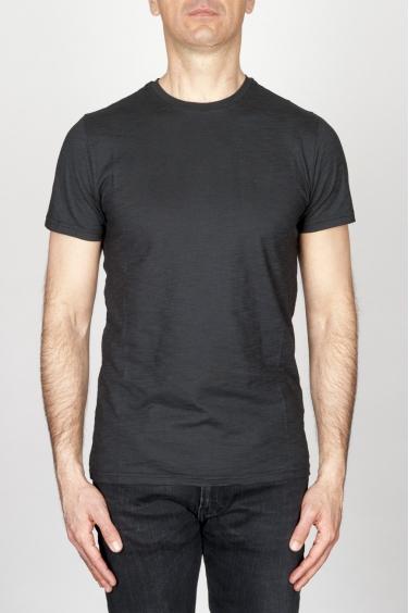 SBU - Strategic Business Unit - T-Shirt Girocollo Classica A Maniche Corte In Cotone Fiammato Nera