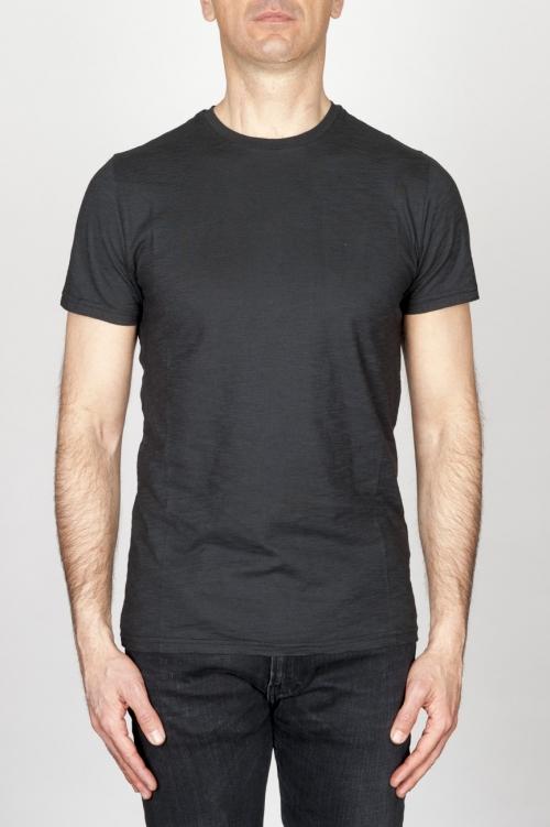 SBU - Strategic Business Unit - Classic Short Sleeve Flamed Cotton Round Neck Black T-Shirt