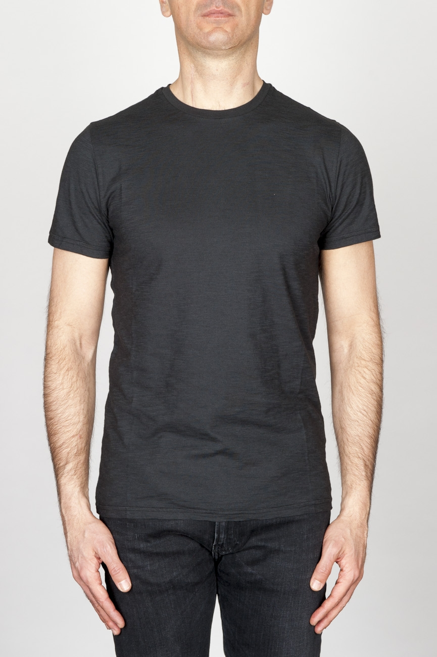 Classic Short Sleeve Flamed Cotton Round Neck Black T-Shirt