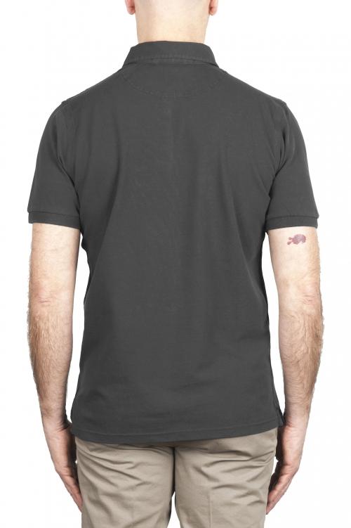 SBU 02046_2020SS Short sleeve anthracite pique polo shirt  01