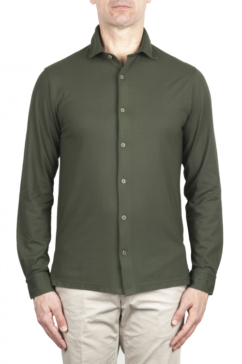 SBU 02047_2020SS Green lightweight cotton crepe shirt  01