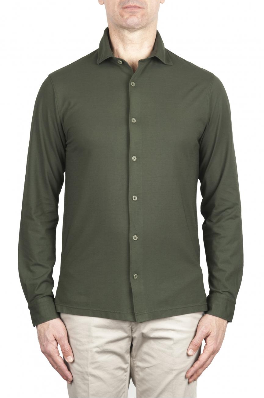 SBU 02047_2020SS Camicia in crepe di cotone ultraleggero verde 01