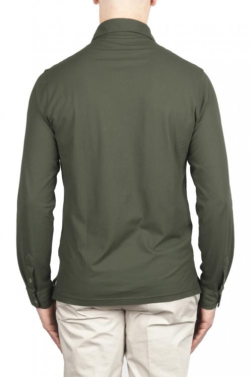 SBU 02047_2020SS Camisa de crepé ligera de algodón verde 01