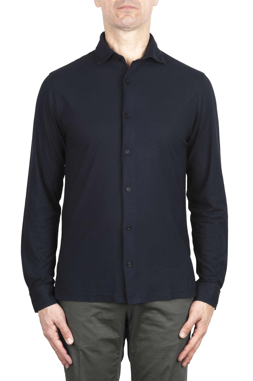 SBU 02048_2020SS Camisa de crepé ligera de algodón azul marino 01