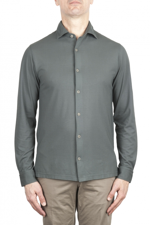 SBU 02049_2020SS Grey lightweight cotton crepe shirt  01