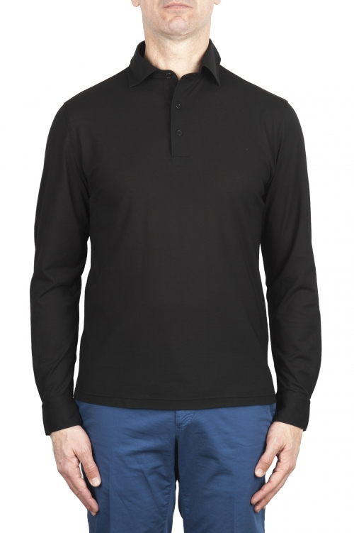 SBU 02050_2020SS Classic long sleeve black cotton crepe polo shirt 01
