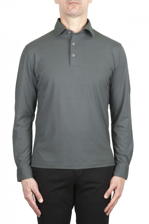 SBU 02051_2020SS Classic long sleeve grey cotton crepe polo shirt 01