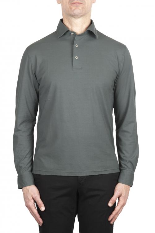 SBU 02051_2020SS Polo clásico de manga larga en crepé de algodón gris 01